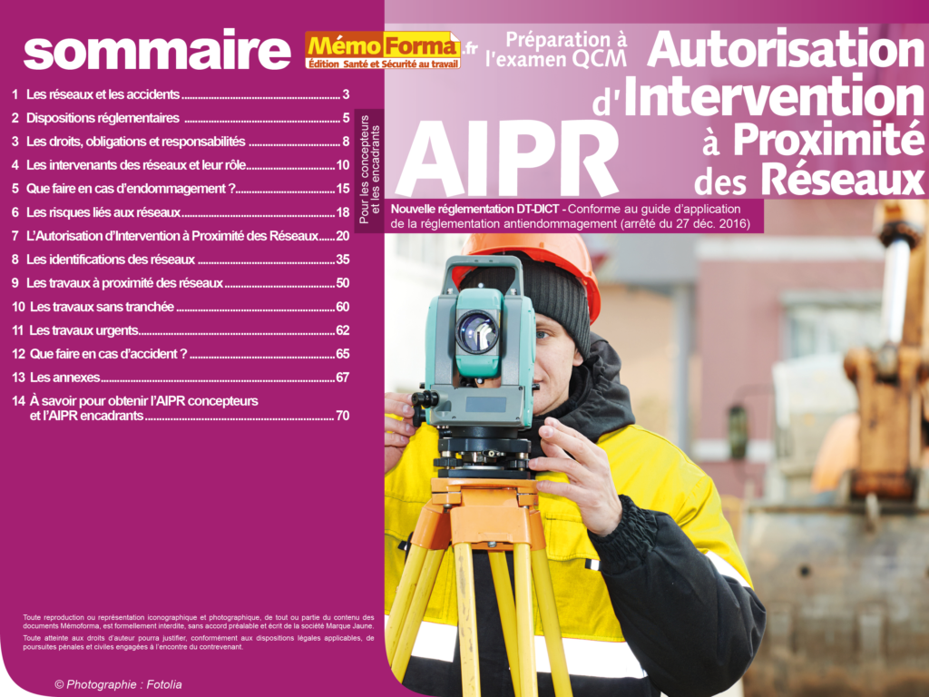 Support formateur – Préparation à l'examen CQM Autorisation d'Intervention à Proximité des Réseaux pour les concepteurs et les encadrants - MémoForma.fr