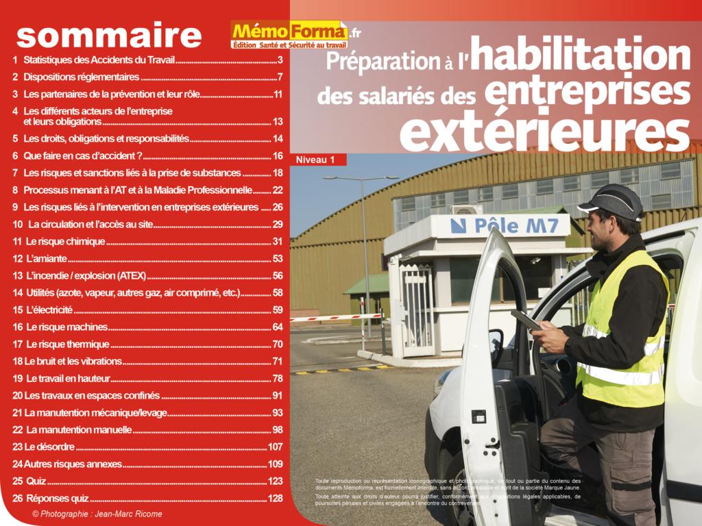 Support formateur – Préparation à l'habilitation des salariés des entreprises extérieures Niveau 1 - MémoForma.fr