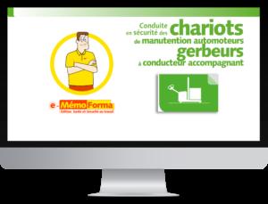 Formation en ligne e-MémoForma - Conduite en sécurité des chariots de manutention automoteurs gerbeurs à conducteur accompagnant - MémoForma.fr